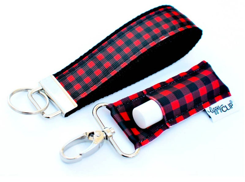 Buffalo Plaid Lippy Clip Keychain in Black