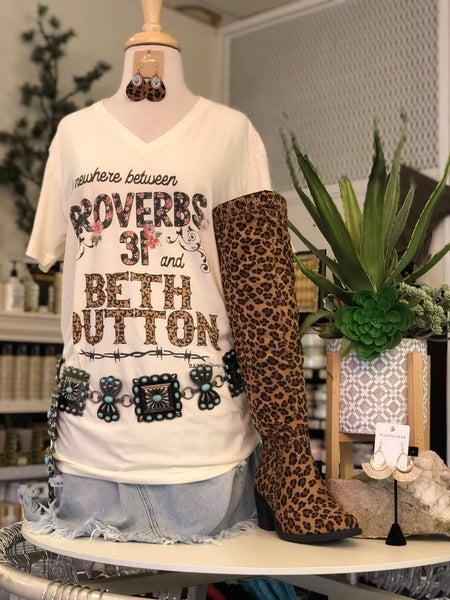 Proverbs 31 & Beth Dutton V-Neck Ivory T-Shirt