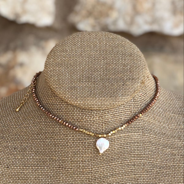 Rose Gold Crystal  with Freshwater Pearl Charm Choker Necklace