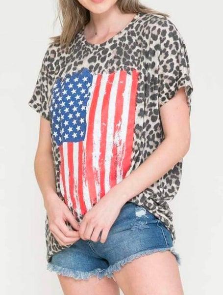 Leopard Print American Flag Graphic Tee