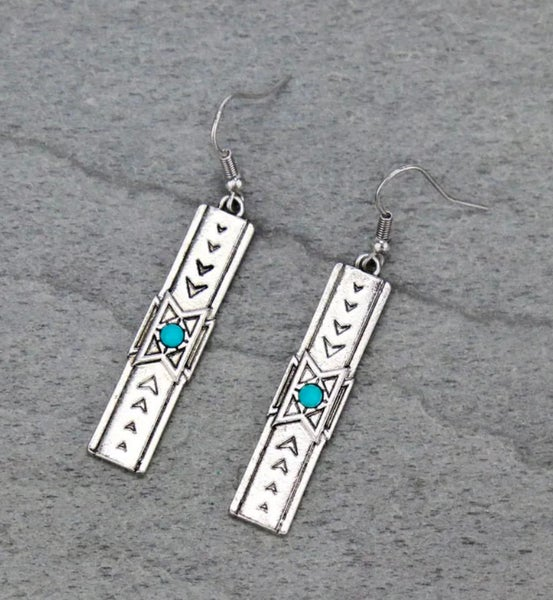 Western Texture Bar Dangle Earrings