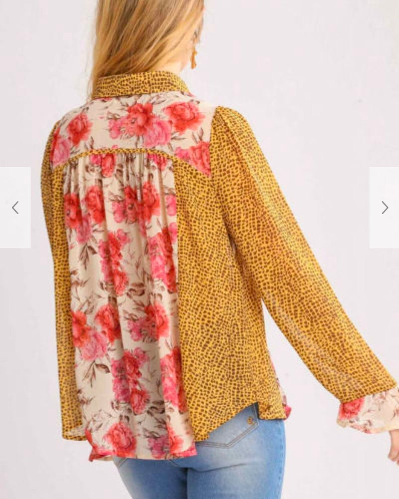 Floral Animal Print Mix Sheer Button Up Blouse
