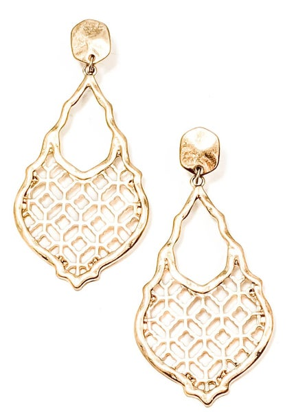 Gold Ava Damask Filgree Earrings