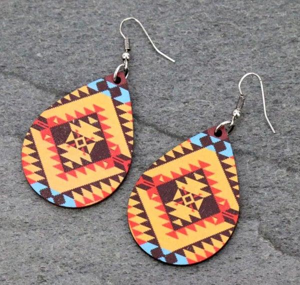 Mustard Multi Aztec Wood Teardrop Earrings