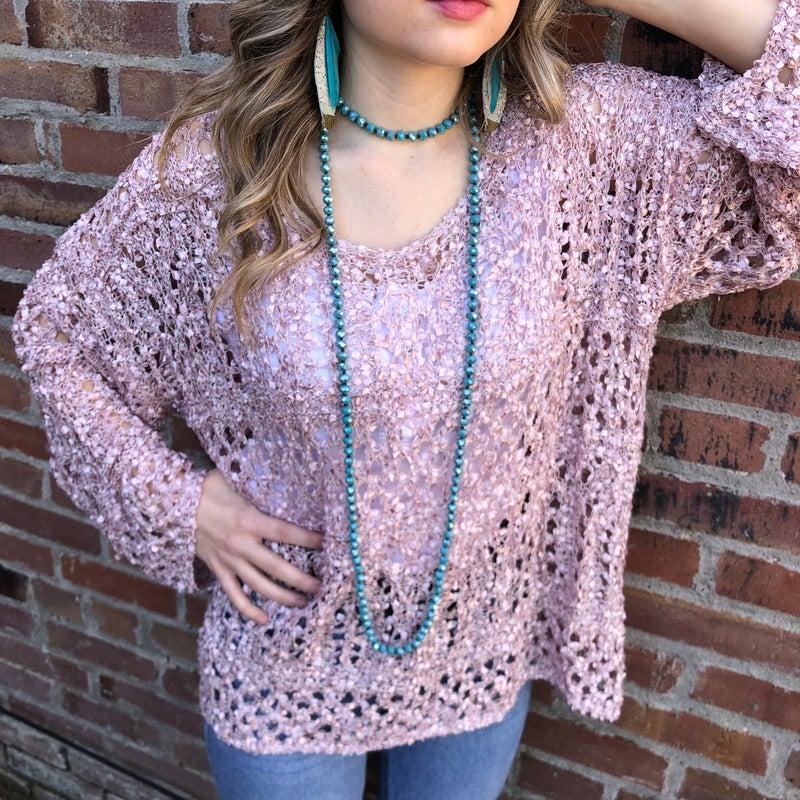 Mauve Glitter Mesh Crochet Pullover Cover Up Top