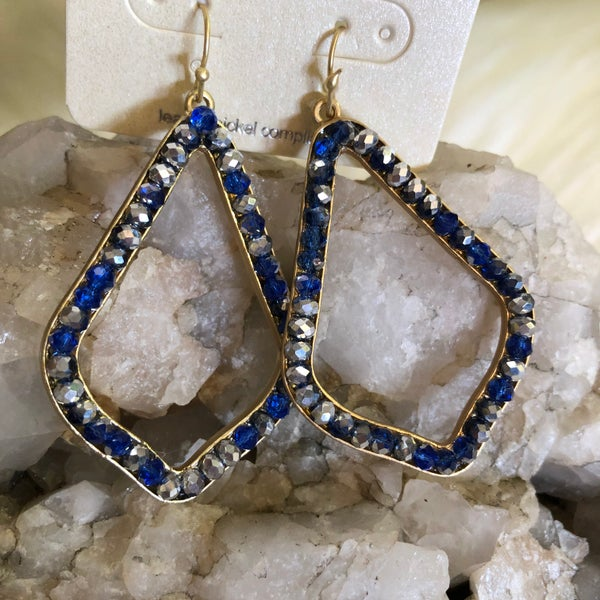 Blue & Silver Open Teardrop Earrings