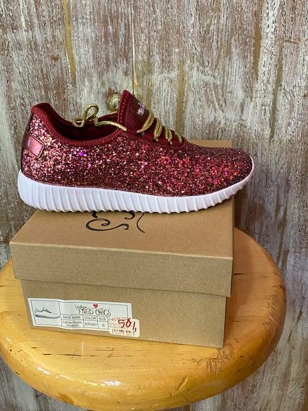 Glitter Bomb Burgundy Tennis Shoes SIZE
