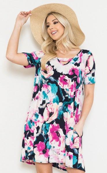 PLUS Floral Short Sleeve V-Neck Dress