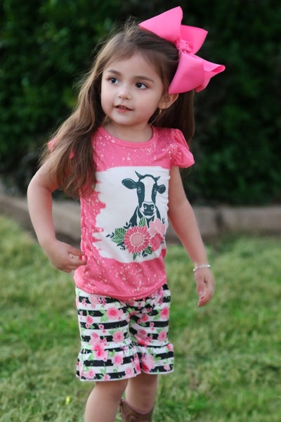 Pink Bleached Floral Cow Short Set