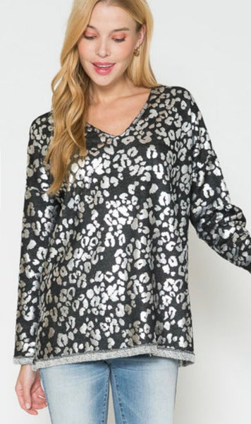 Black & Silver Long Sleeve V-Neck Sweater