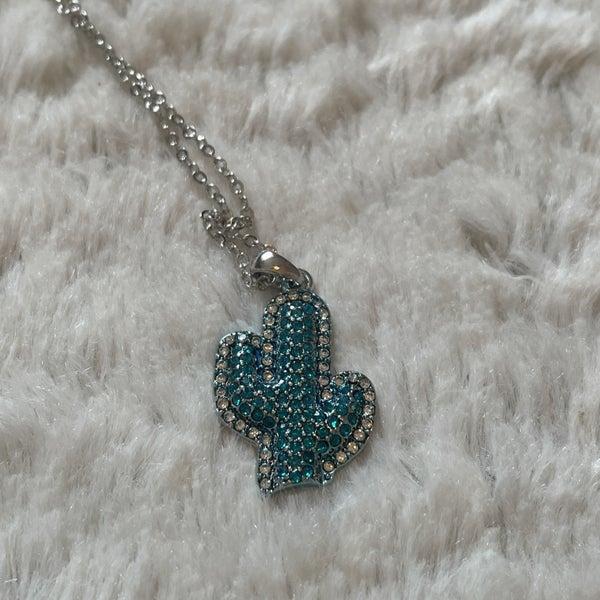 Turquoise Rhinestone Cactus Fashion Necklace