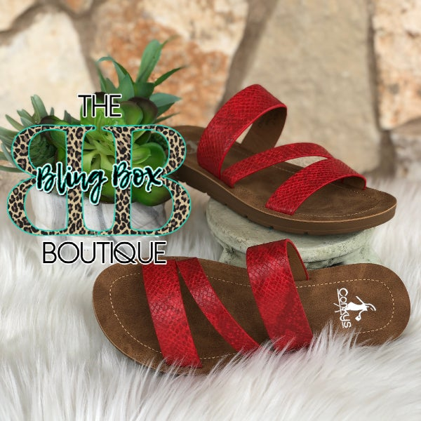 Corkys Lydia Red Snake Sandals