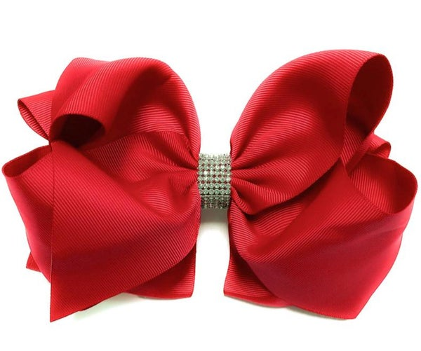 "Hot Red Rhinestone Hair Bow 7.5"" W"