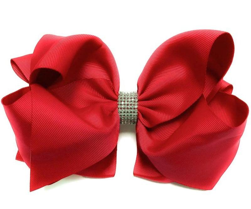 """Hot Red Rhinestone Hair Bow 7.5"""" W"""