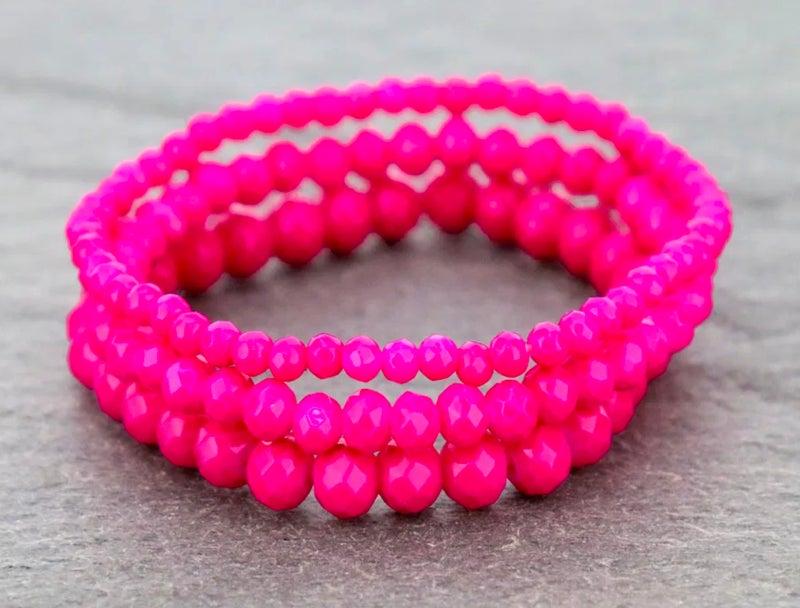 Dark Pink 3-Piece Stretch Bracelet Set