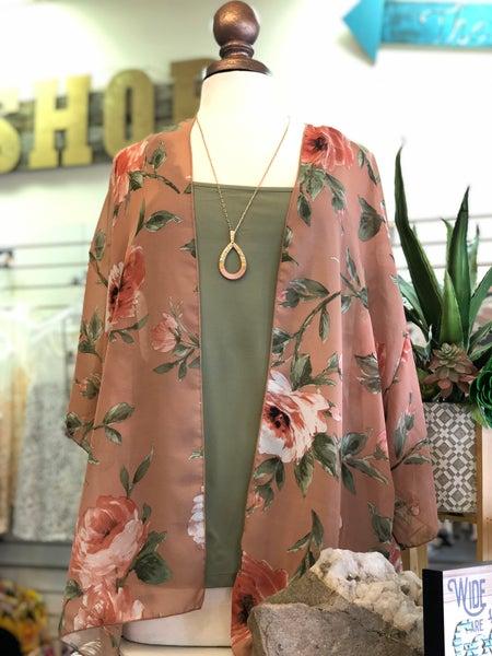 Mocha Rose Floral Sheer Kimono