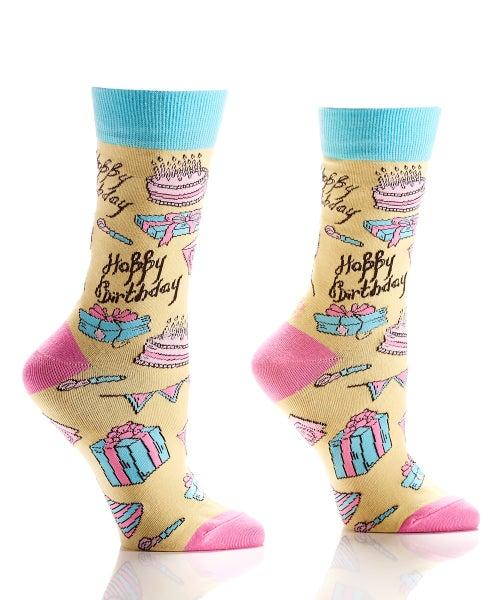 Happy Birthday Cake Yellow Crazy Socks
