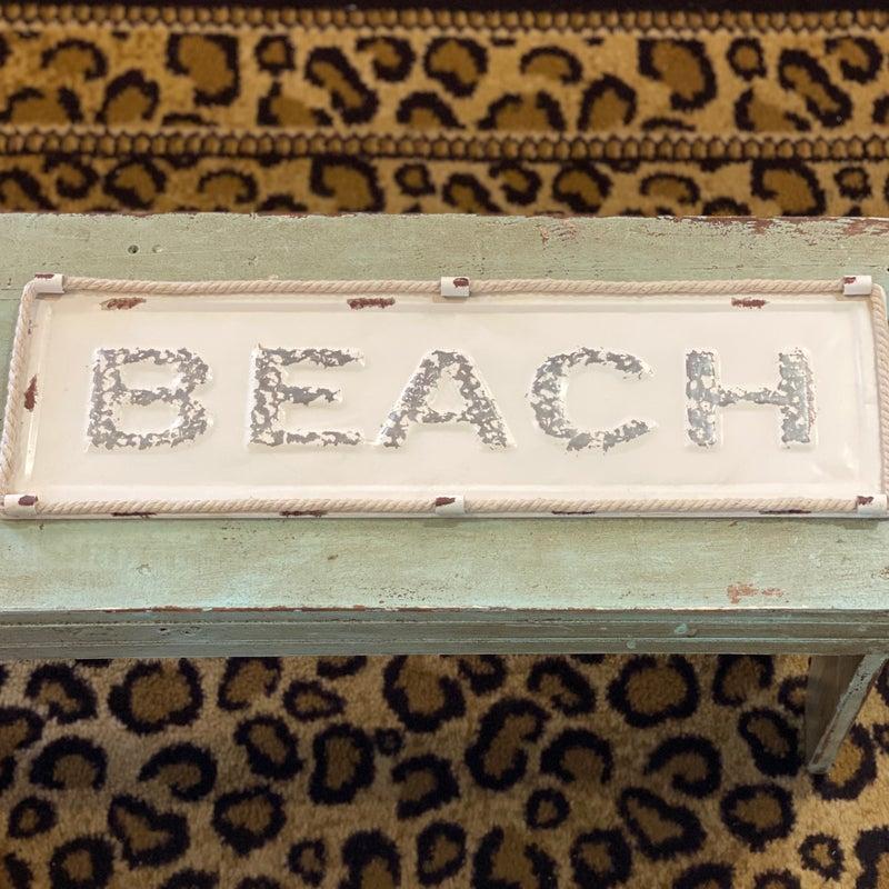 Cream Beach Sign