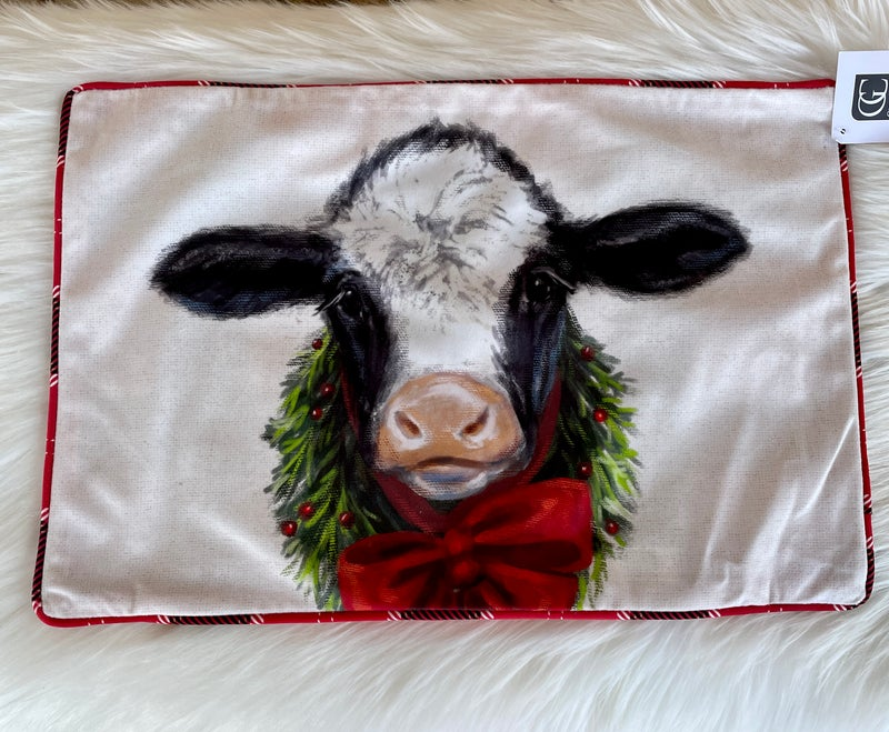 "Christmas Cow Print 18"" x 12"" Pillowcase"