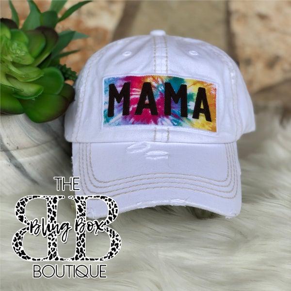 MAMA Tie Dye White Vintage Hat