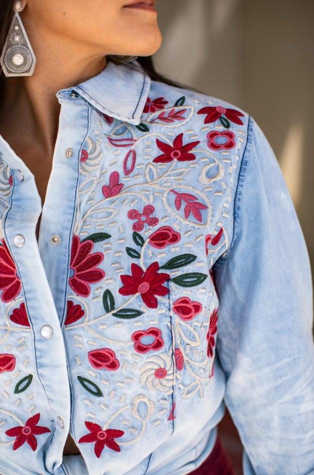 Light Wash Button Down Embroidered Denim Shirt