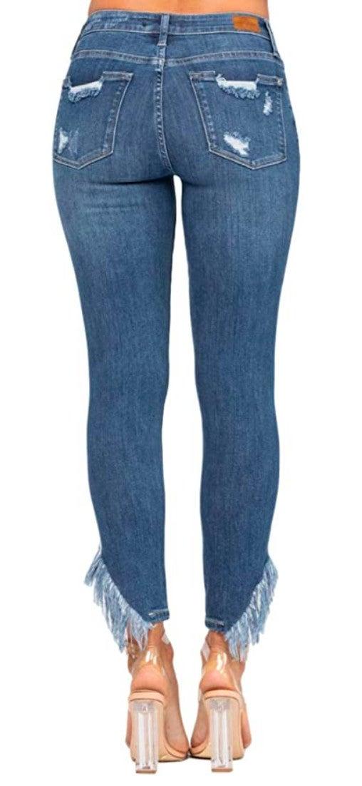 Judy Blue Jeans High Rise Fringe Hem Skinny Jeans