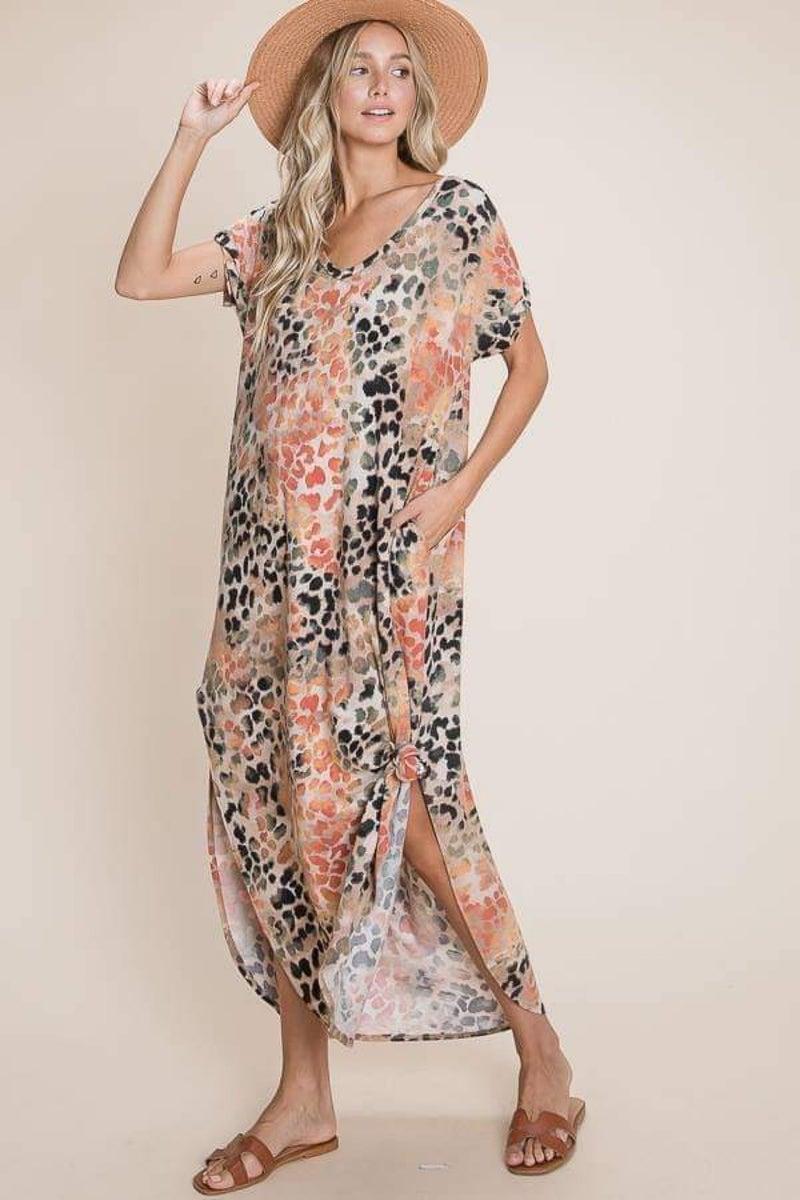 Fall Vibes Leopard Short Sleeve Maxi Dress with Pockets