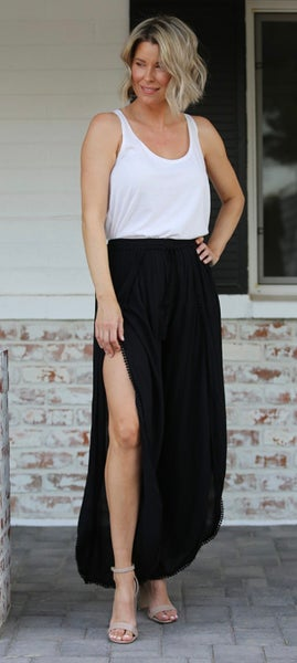Black Gause Split Open Front Pants