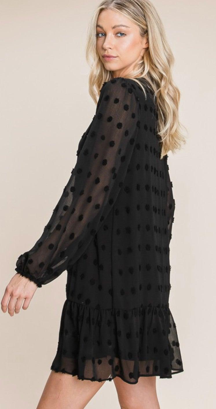 Black Pom Pom Long Sleeve Lined Dress