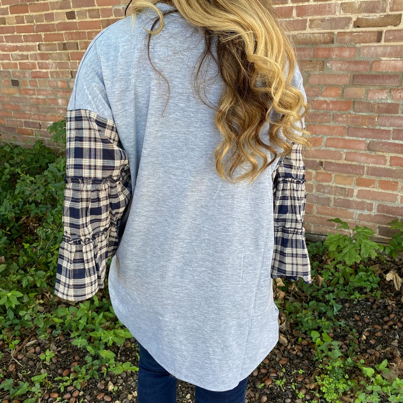 Cactus Leopard & Plaid Bell Sleeve Top