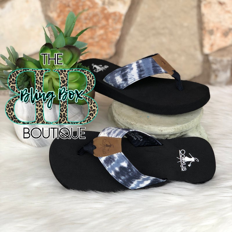 Corkys Bahama Mama Blue Flip Flops