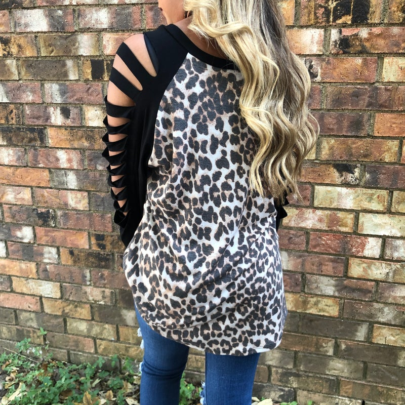 Leopard Black Slit Long Sleeve Top