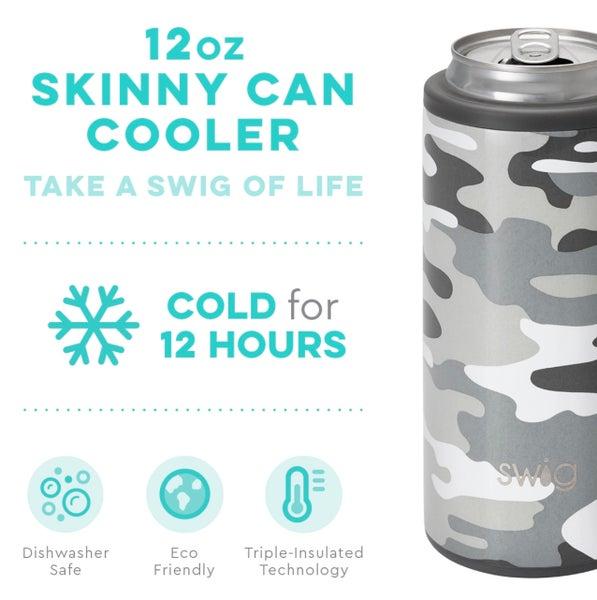 Swig Incognito Grey Camo Skinny 12 Oz Can Cooler