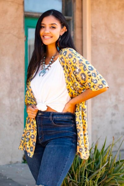 Mustard Leopard Print Relaxed Fit Printed Kimono