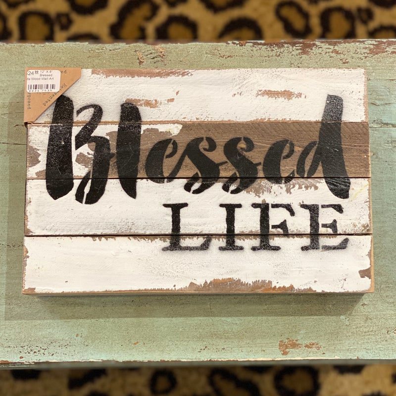"""12"""" X 8"""" Blessed Life Wood Wall Art"""
