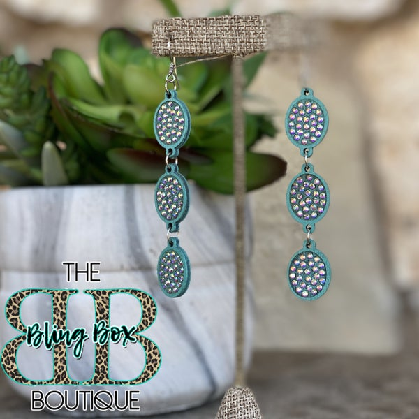 Turquoise AB 3 Tier Oval Earrings