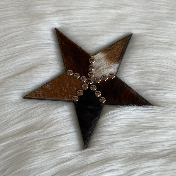 "Small 8"" Cowhide Mix Star"