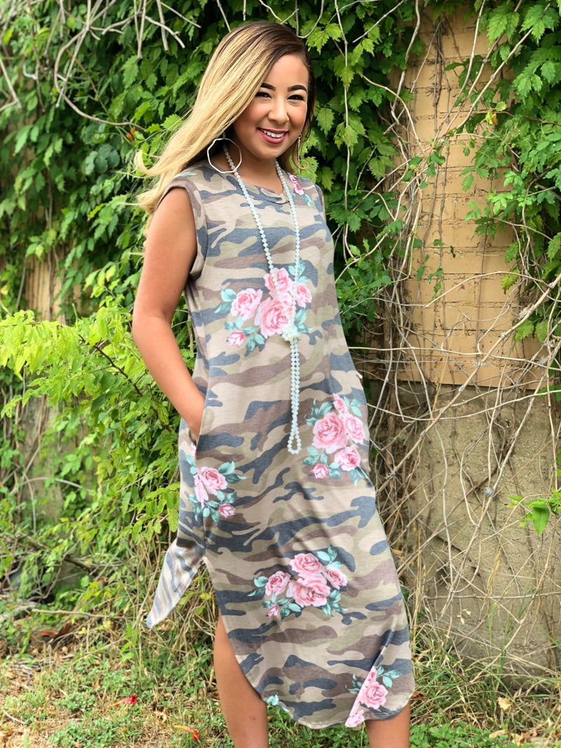 Camo Floral Sleeveless Maxi Dress