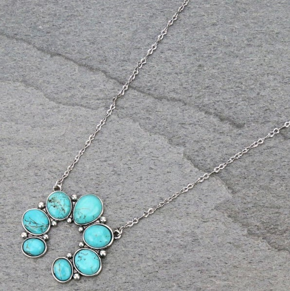 Turquoise Stone Squash Silver Choker Necklace