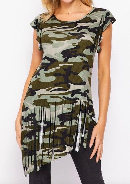 Army Green Camo Fringe Short Sleeve Top