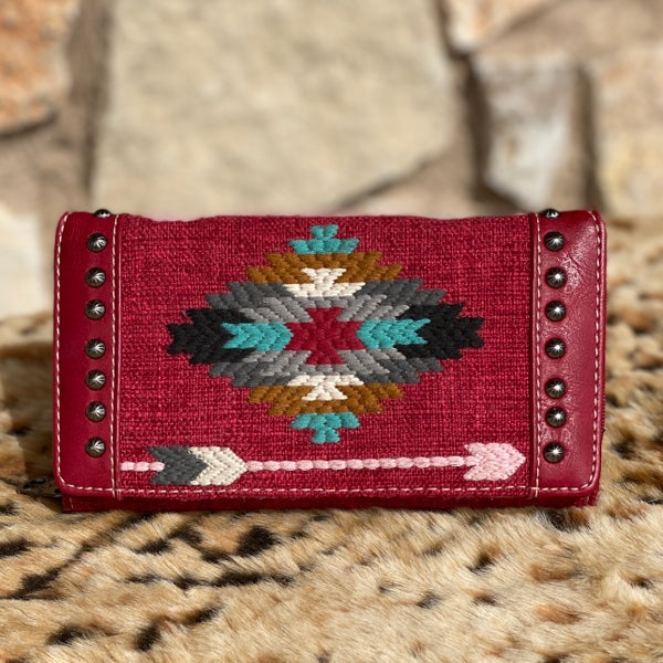 Red Aztec Embroidered Wallet