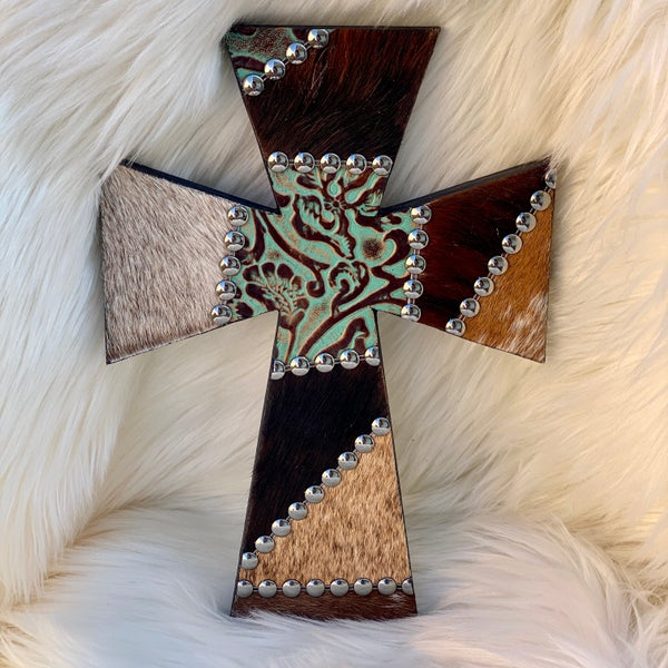 """12"""" Cowhide & Turquoise Patchwork Cross - A"""