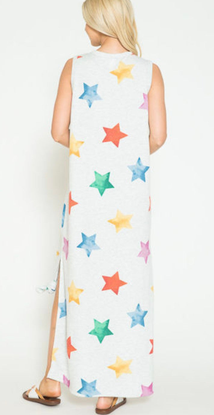 Multi Star Heather Grey Sleeveless Maxi Dress