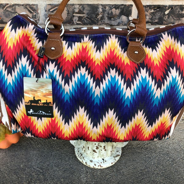 Serape Chevron Striped Canvas Duffle Bag