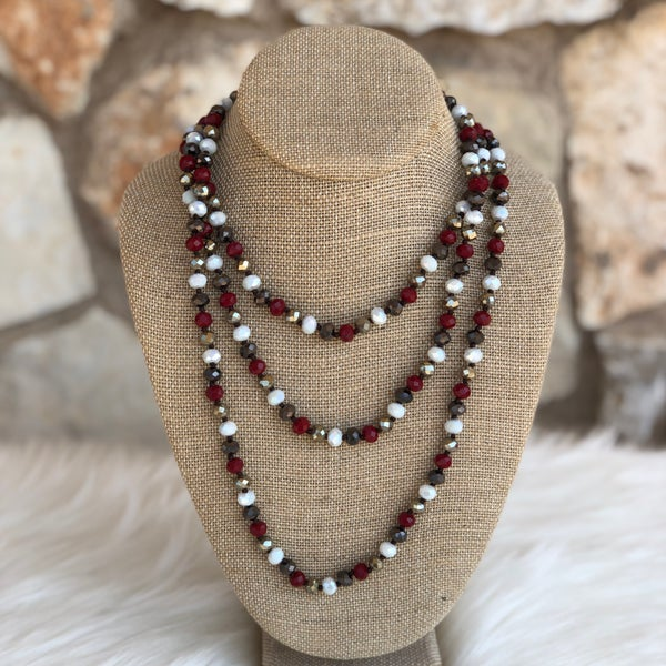 "Maroon, White & Grey Mix 60"" Crystal Necklace"