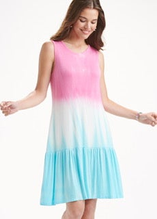 Pink/Turquoise Mix Ombre Ruffle Mid Maxi Dress