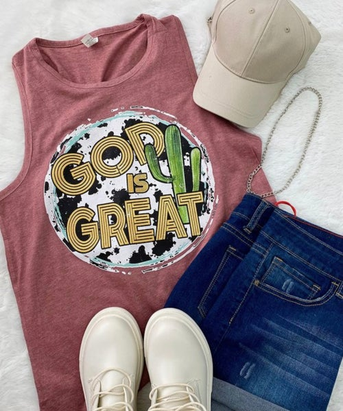 God is Great Cowprint Cactus Berry Tank Top