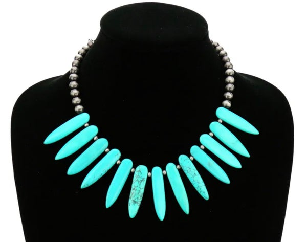 "15"" Turquoise Dagger Stone  Navajo Pearl Necklace"