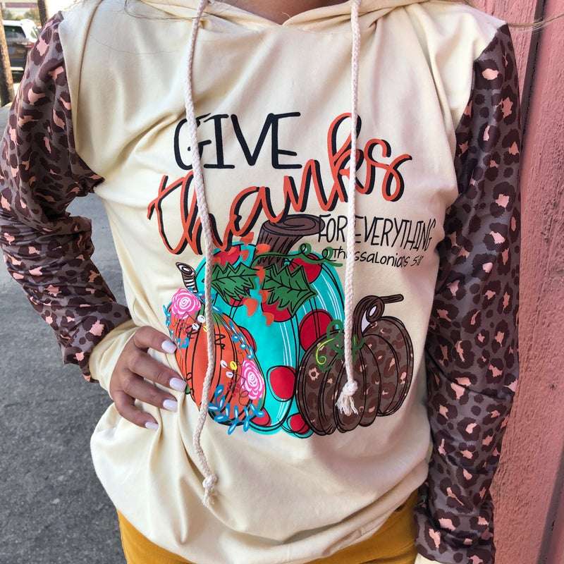 Give Thanks For Everything Leopard Pumpkin Hoodie