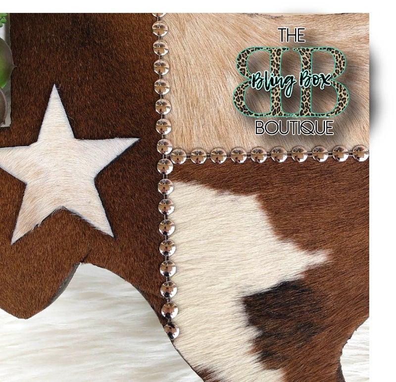 """15"""" Cowhide Texas Flag Leather Custom Wall Decor"""